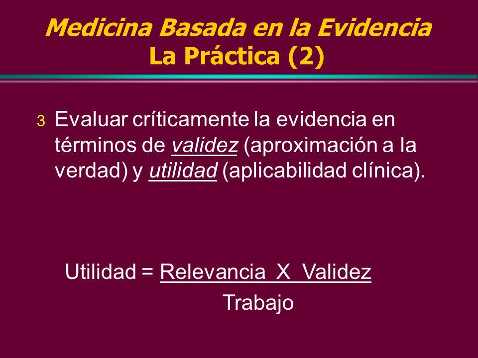 Medicina Basada en la Evidencia La Práctica (1) Cuando la asistencia a nuestros pacientes crea la necesidad de información, hay que: 1 Convertirla en