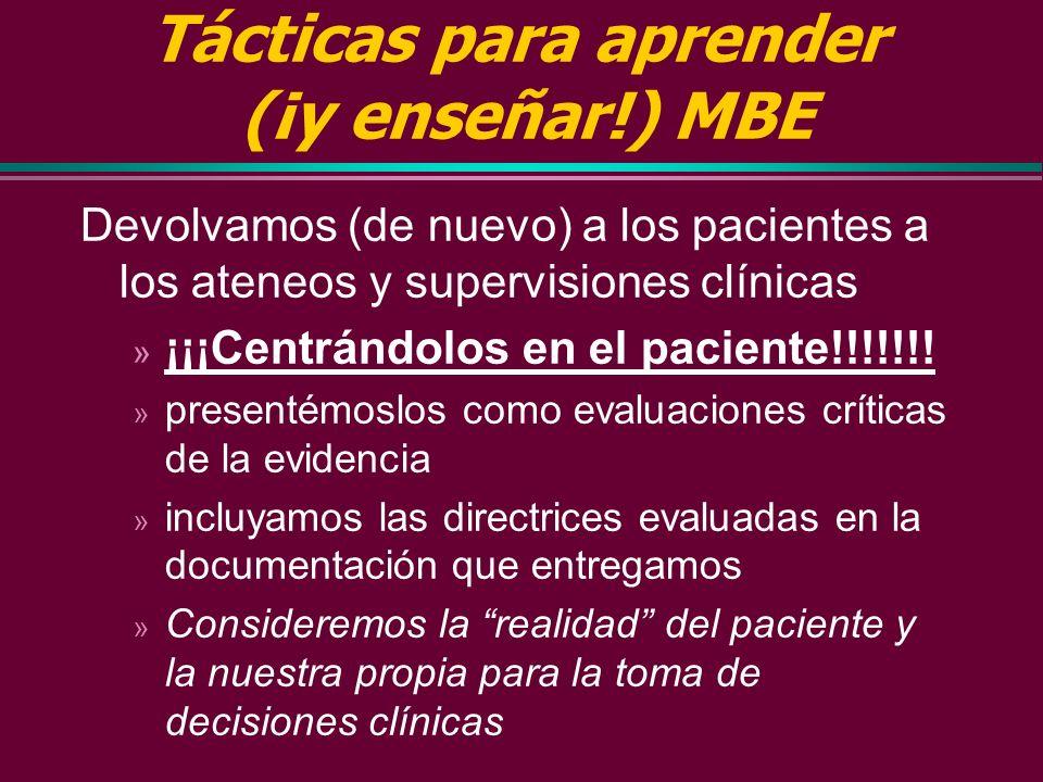 Tácticas para aprender (¡y enseñar!) MBE (3) 3 Escribir (para nosotros y para otros) Prescripciones Educativas Rp Educativas