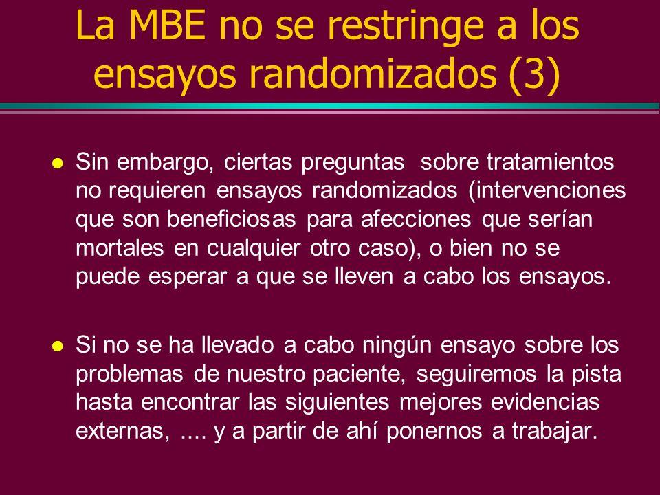 La MBE no se restringe a los ensayos randomizados (2) l En otras ocasiones, las evidencias que necesitamos procederán de ciencias básicas como la gené