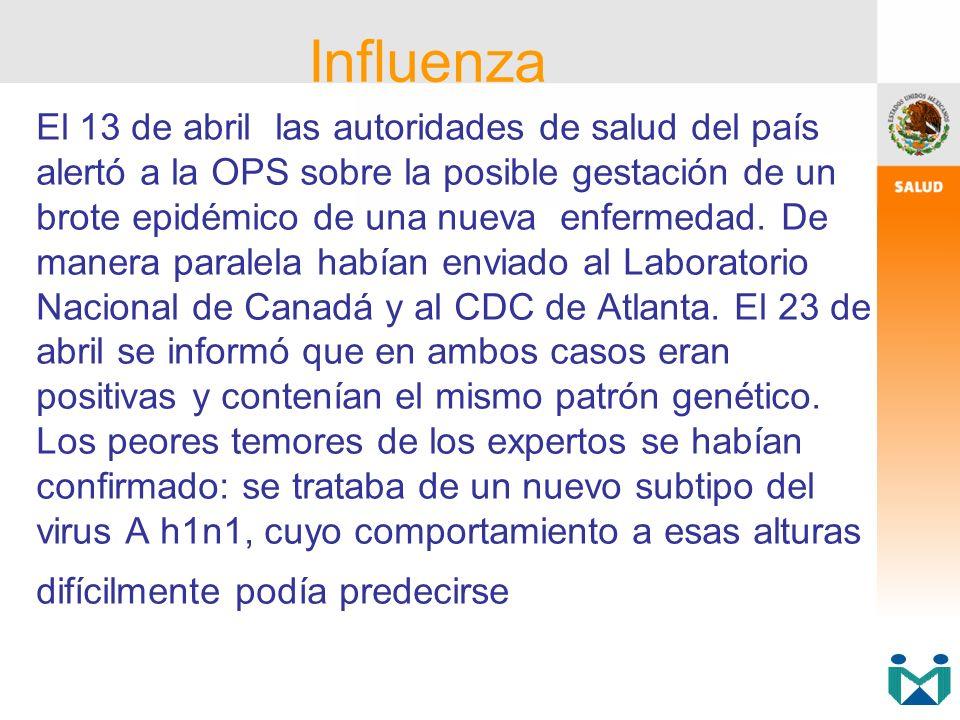 El 13 de abril las autoridades de salud del país alertó a la OPS sobre la posible gestación de un brote epidémico de una nueva enfermedad. De manera p
