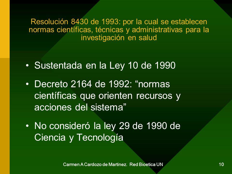 Carmen A Cardozo de Martinez. Red Bioetica UN 10 Resolución 8430 de 1993: por la cual se establecen normas científicas, técnicas y administrativas par