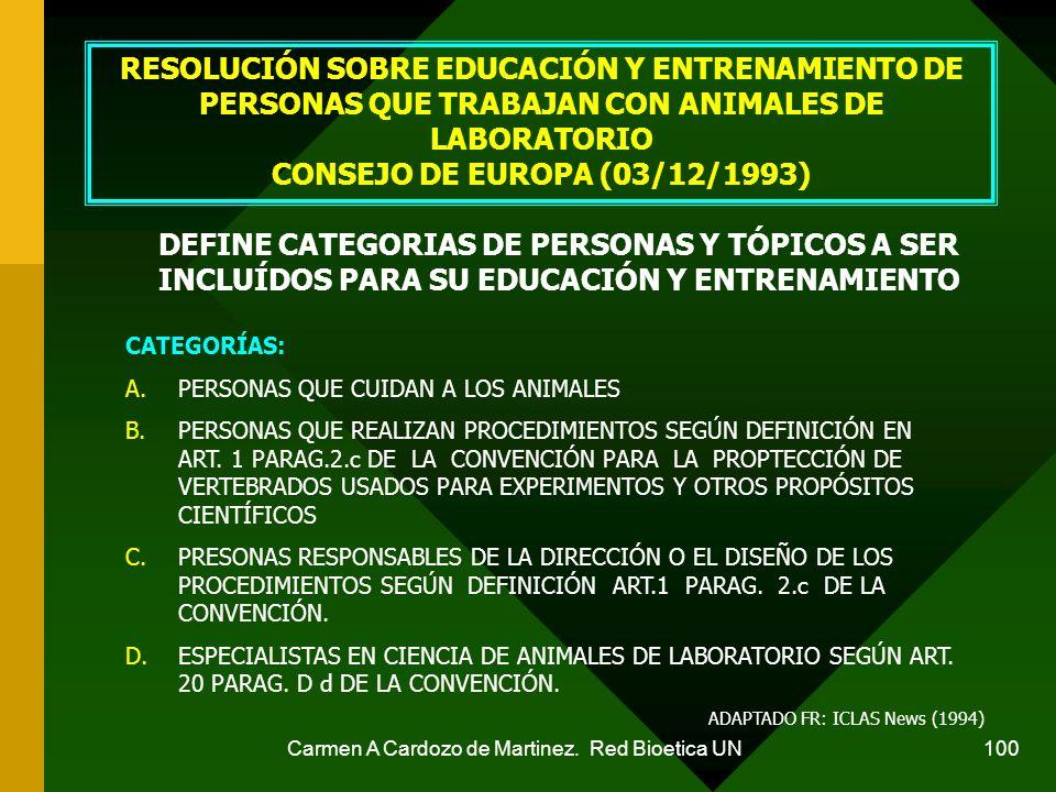 Carmen A Cardozo de Martinez. Red Bioetica UN 100 RESOLUCIÓN SOBRE EDUCACIÓN Y ENTRENAMIENTO DE PERSONAS QUE TRABAJAN CON ANIMALES DE LABORATORIO CONS