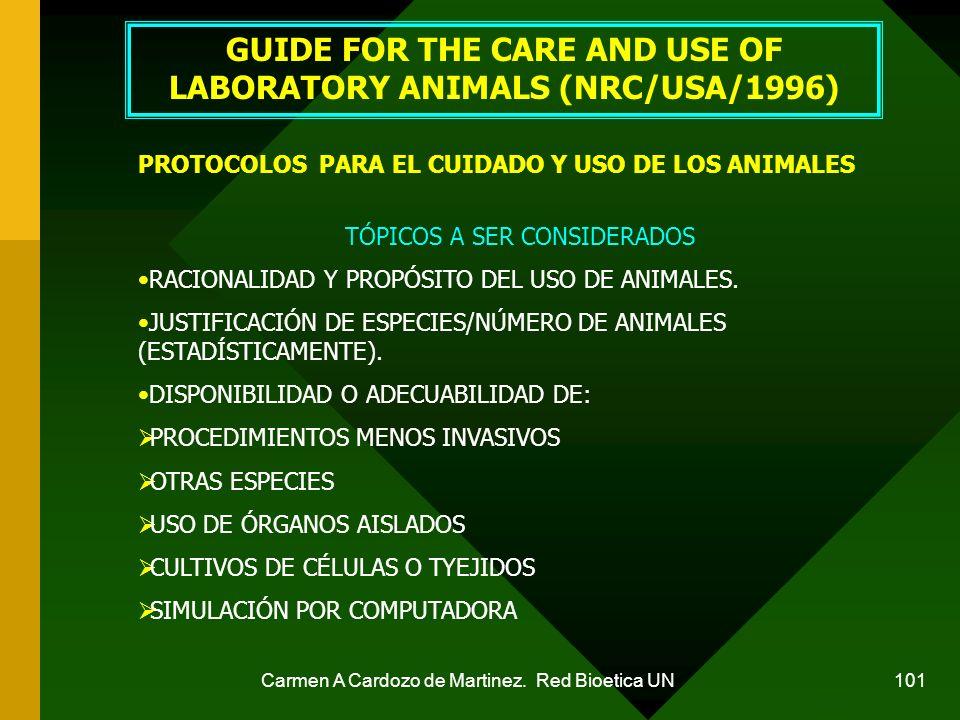 Carmen A Cardozo de Martinez. Red Bioetica UN 101 GUIDE FOR THE CARE AND USE OF LABORATORY ANIMALS (NRC/USA/1996) PROTOCOLOS PARA EL CUIDADO Y USO DE