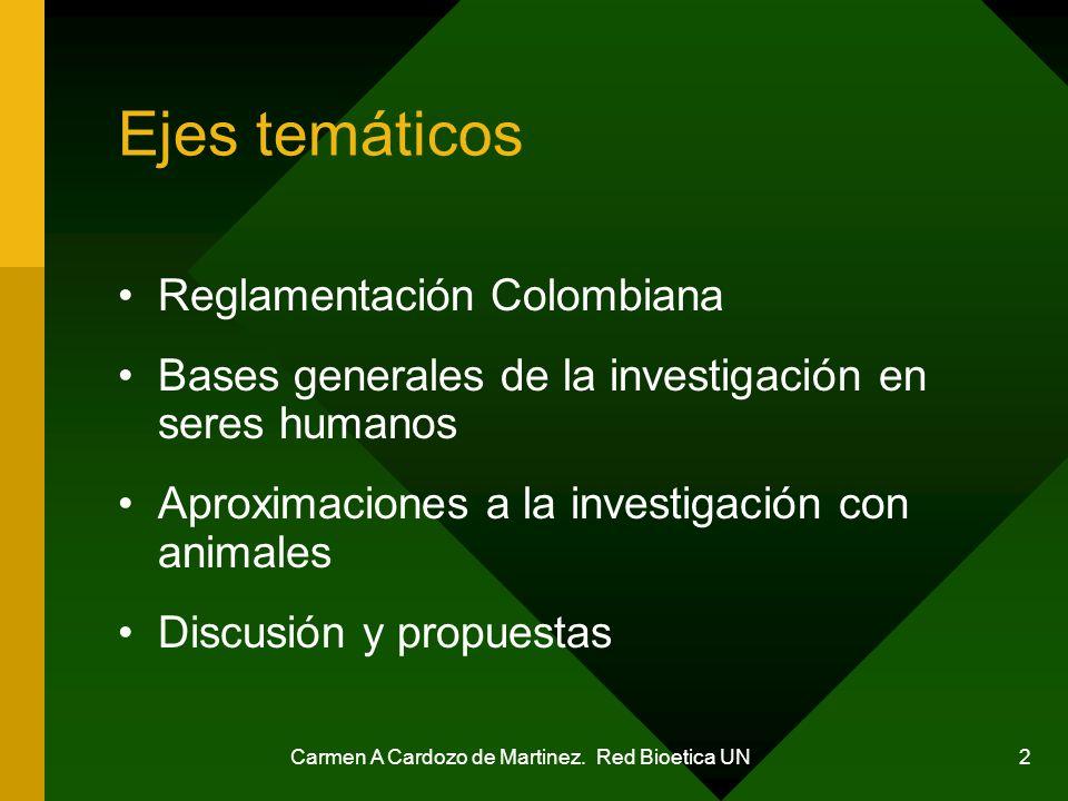 Carmen A Cardozo de Martinez. Red Bioetica UN 2 Ejes temáticos Reglamentación Colombiana Bases generales de la investigación en seres humanos Aproxima