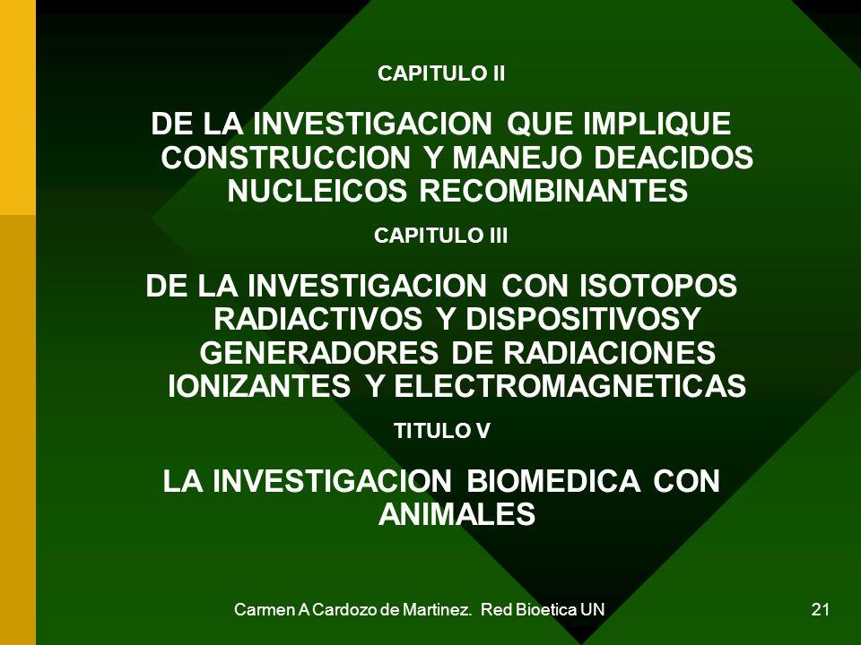 Carmen A Cardozo de Martinez. Red Bioetica UN 21 CAPITULO II DE LA INVESTIGACION QUE IMPLIQUE CONSTRUCCION Y MANEJO DEACIDOS NUCLEICOS RECOMBINANTES C