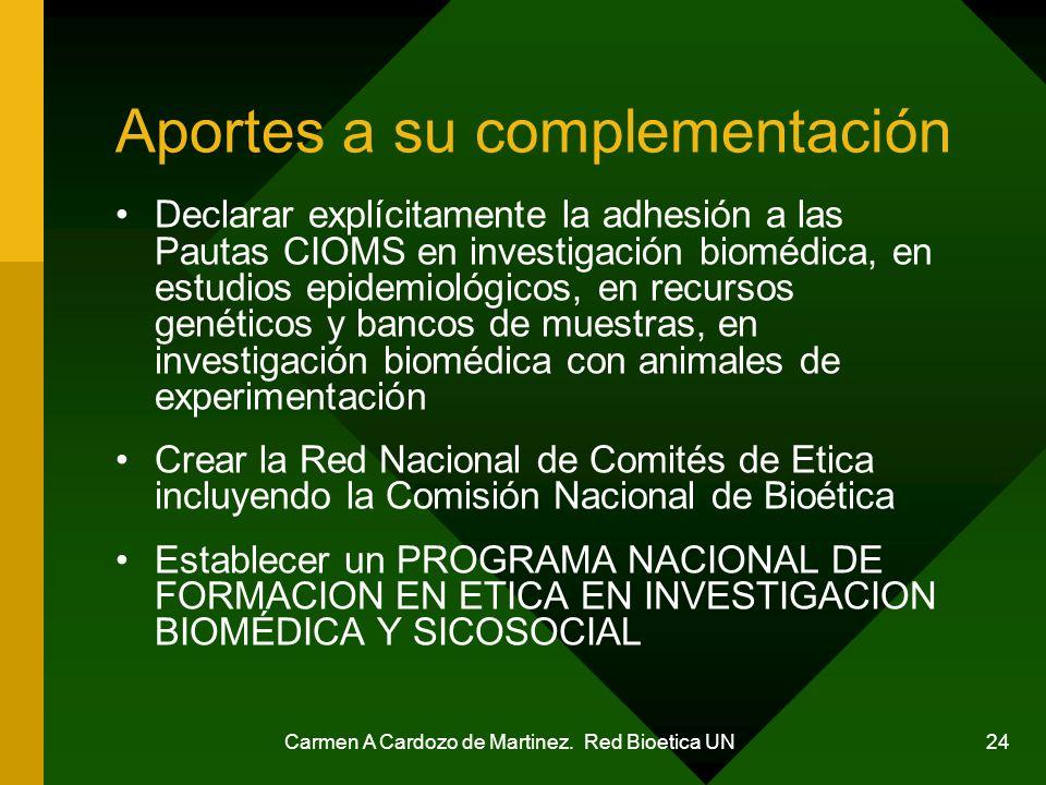 Carmen A Cardozo de Martinez. Red Bioetica UN 24 Aportes a su complementación Declarar explícitamente la adhesión a las Pautas CIOMS en investigación