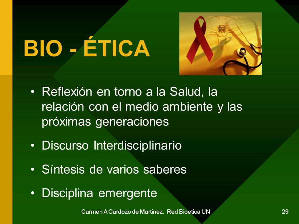Carmen A Cardozo de Martinez. Red Bioetica UN 29 BIO - ÉTICA Reflexión en torno a la Salud, la relación con el medio ambiente y las próximas generacio