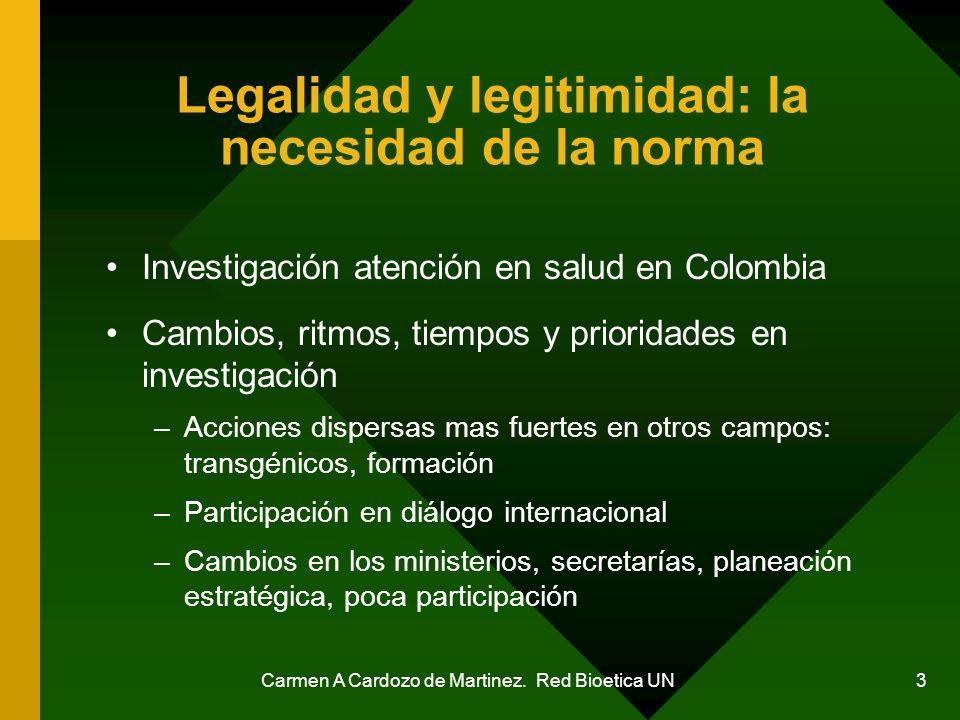 Carmen A Cardozo de Martinez. Red Bioetica UN 3 Legalidad y legitimidad: la necesidad de la norma Investigación atención en salud en Colombia Cambios,