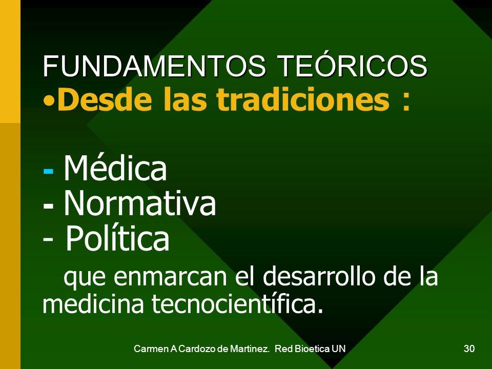 Carmen A Cardozo de Martinez. Red Bioetica UN 30 Desde las tradiciones : - Médica - Normativa - Política que enmarcan el desarrollo de la medicina tec