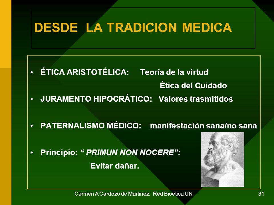 Carmen A Cardozo de Martinez. Red Bioetica UN 31 DESDE LA TRADICION MEDICA ÉTICA ARISTOTÉLICA: Teoría de la virtud Ética del Cuidado JURAMENTO HIPOCRÁ