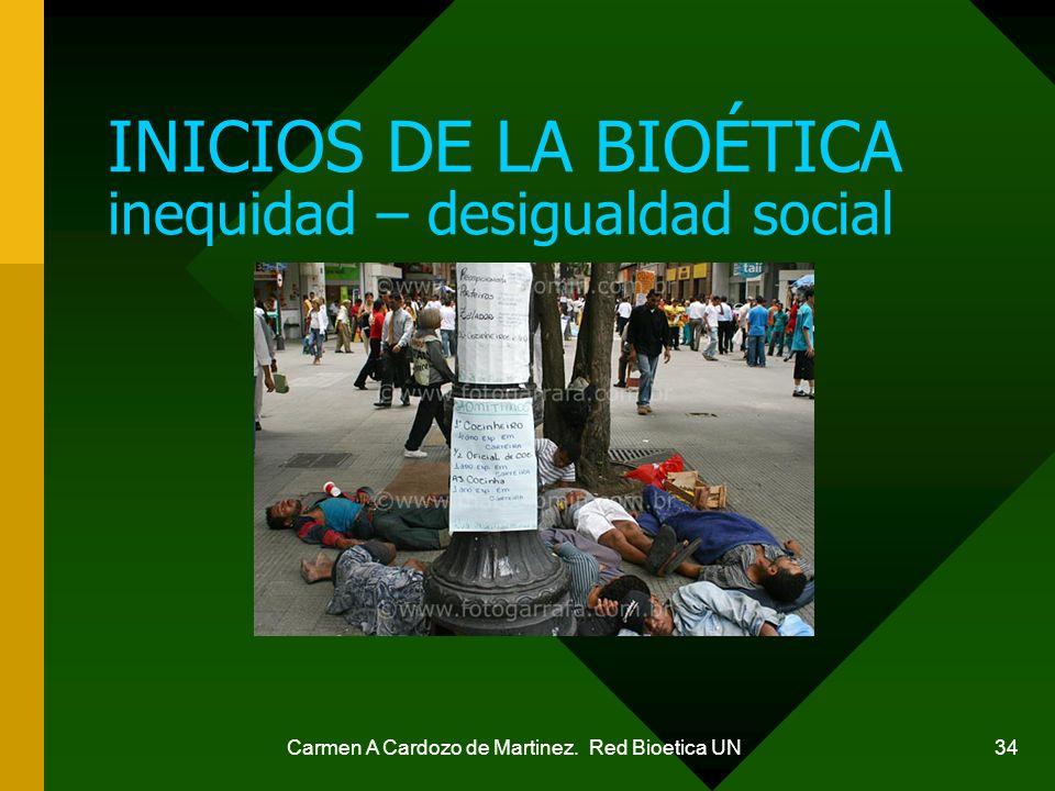Carmen A Cardozo de Martinez. Red Bioetica UN 34 INICIOS DE LA BIOÉTICA inequidad – desigualdad social