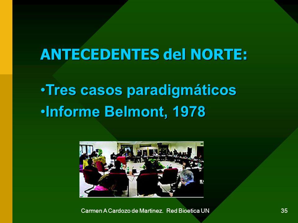 Carmen A Cardozo de Martinez. Red Bioetica UN 35 ANTECEDENTES del NORTE: Tres casos paradigmáticosTres casos paradigmáticos Informe Belmont, 1978Infor
