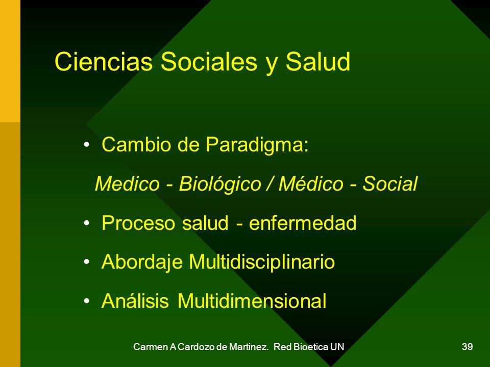 Carmen A Cardozo de Martinez. Red Bioetica UN 39 Ciencias Sociales y Salud Cambio de Paradigma: Medico - Biológico / Médico - Social Proceso salud - e