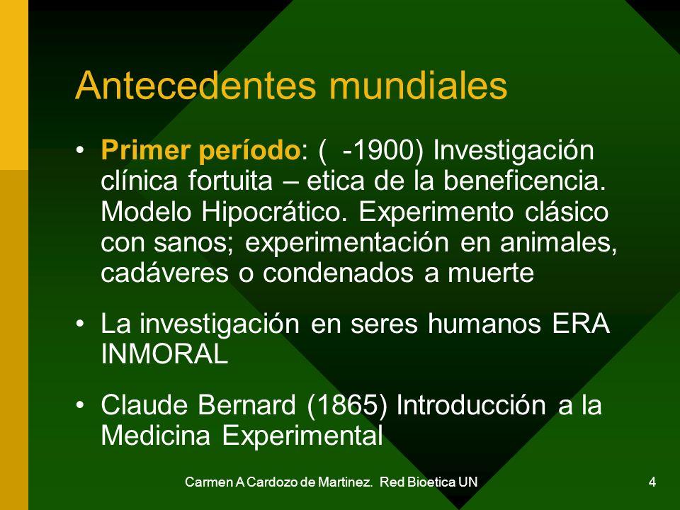 Carmen A Cardozo de Martinez. Red Bioetica UN 4 Antecedentes mundiales Primer período: ( -1900) Investigación clínica fortuita – etica de la beneficen