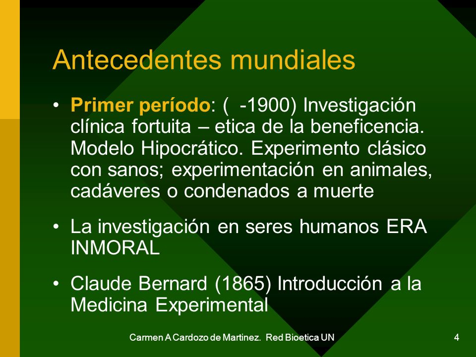 Carmen A Cardozo de Martinez. Red Bioetica UN 25