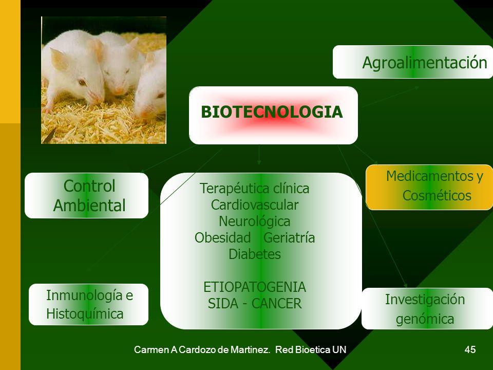 Carmen A Cardozo de Martinez. Red Bioetica UN 45 BIOTECNOLOGIA Agroalimentación Control Ambiental Medicamentos y Cosméticos Investigación genómica Inm