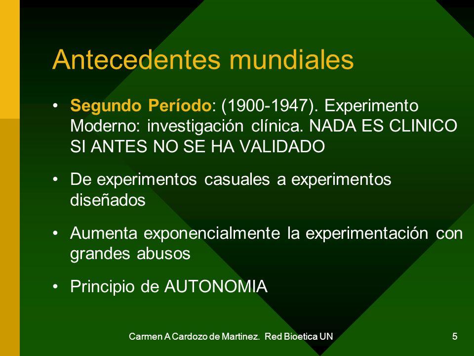 Carmen A Cardozo de Martinez. Red Bioetica UN 5 Antecedentes mundiales Segundo Período: (1900-1947). Experimento Moderno: investigación clínica. NADA