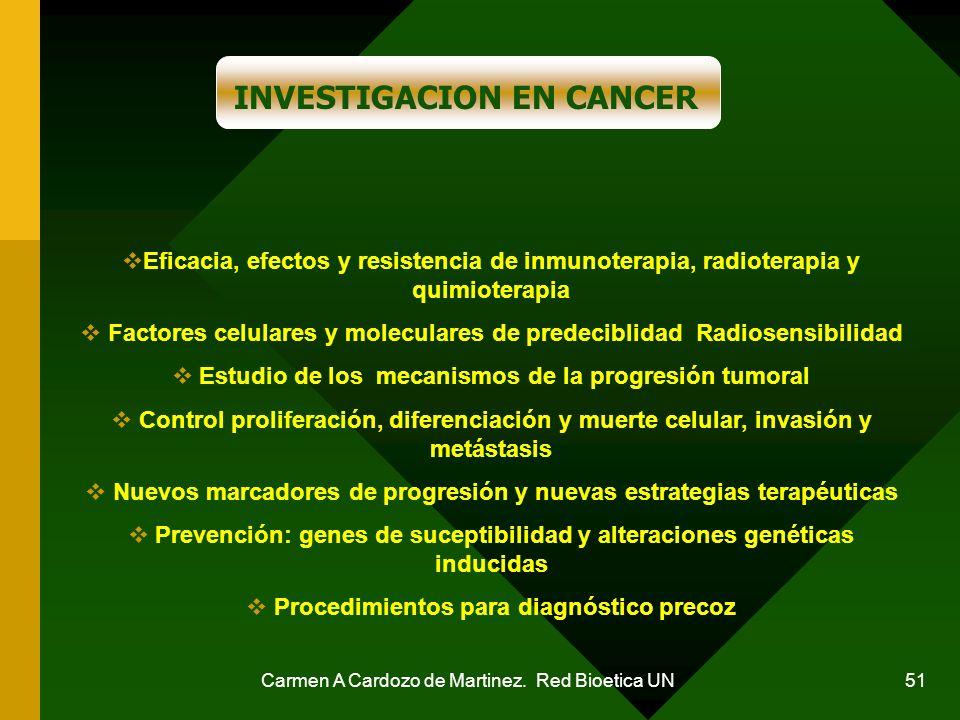 Carmen A Cardozo de Martinez. Red Bioetica UN 51 INVESTIGACION EN CANCER Eficacia, efectos y resistencia de inmunoterapia, radioterapia y quimioterapi