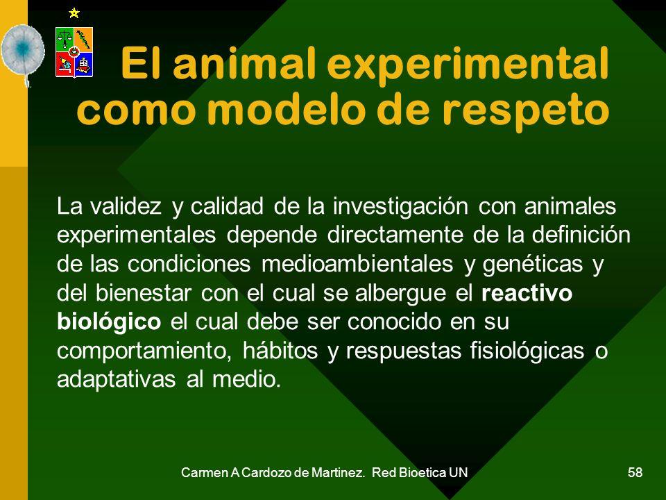 Carmen A Cardozo de Martinez. Red Bioetica UN 58 El animal experimental como modelo de respeto La validez y calidad de la investigación con animales e