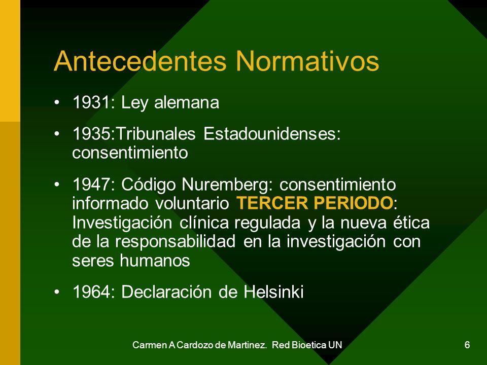 Carmen A Cardozo de Martinez. Red Bioetica UN 6 Antecedentes Normativos 1931: Ley alemana 1935:Tribunales Estadounidenses: consentimiento 1947: Código