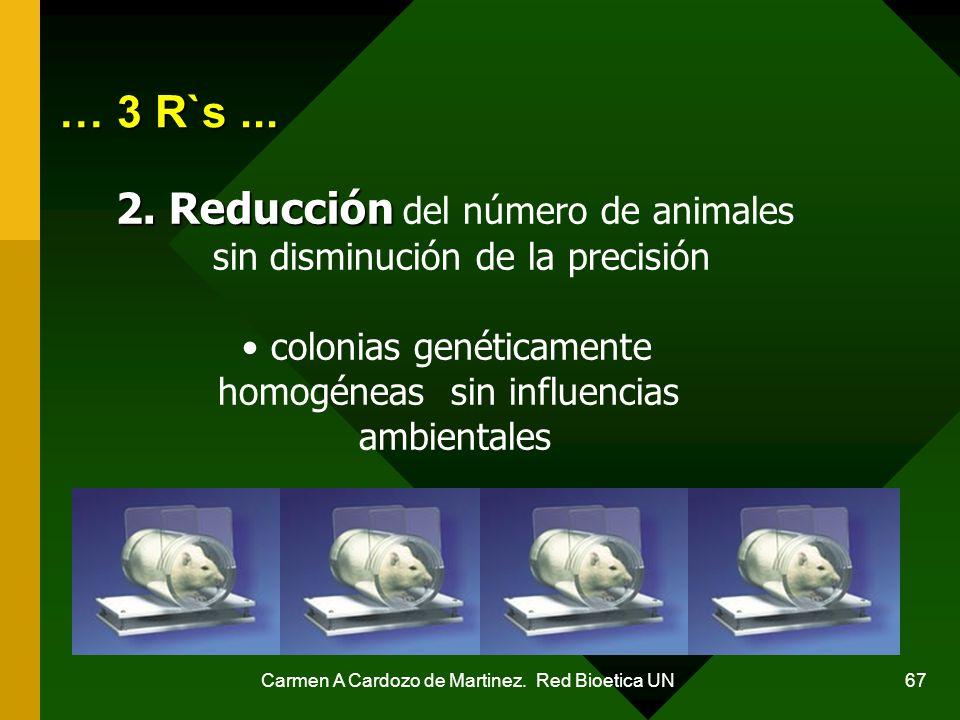 Carmen A Cardozo de Martinez. Red Bioetica UN 67 … 3 R`s... 2. Reducción 2. Reducción del número de animales sin disminución de la precisión colonias