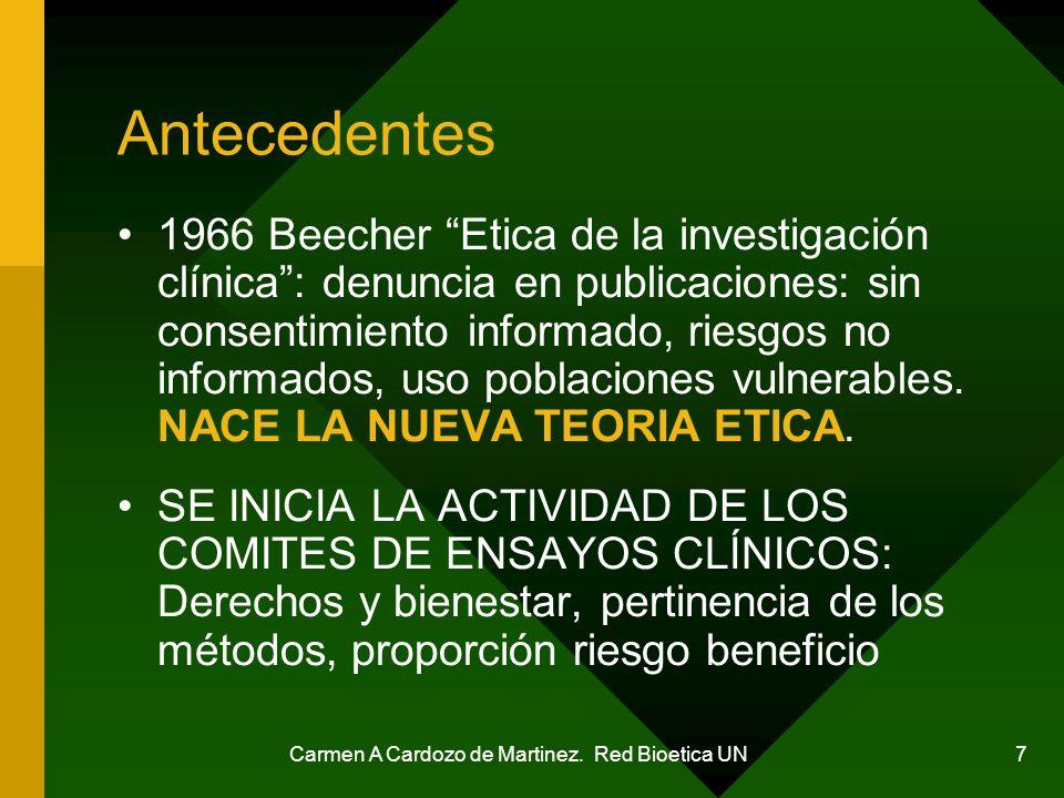 Carmen A Cardozo de Martinez. Red Bioetica UN 7 Antecedentes 1966 Beecher Etica de la investigación clínica: denuncia en publicaciones: sin consentimi