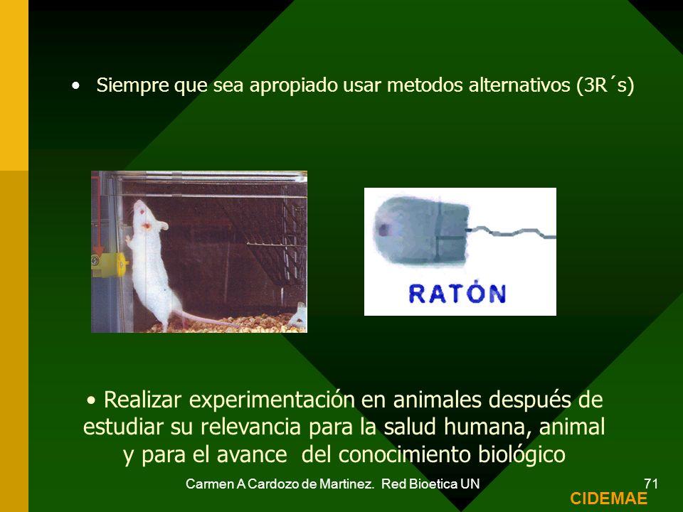 Carmen A Cardozo de Martinez. Red Bioetica UN 71 Siempre que sea apropiado usar metodos alternativos (3R´s) Realizar experimentación en animales despu