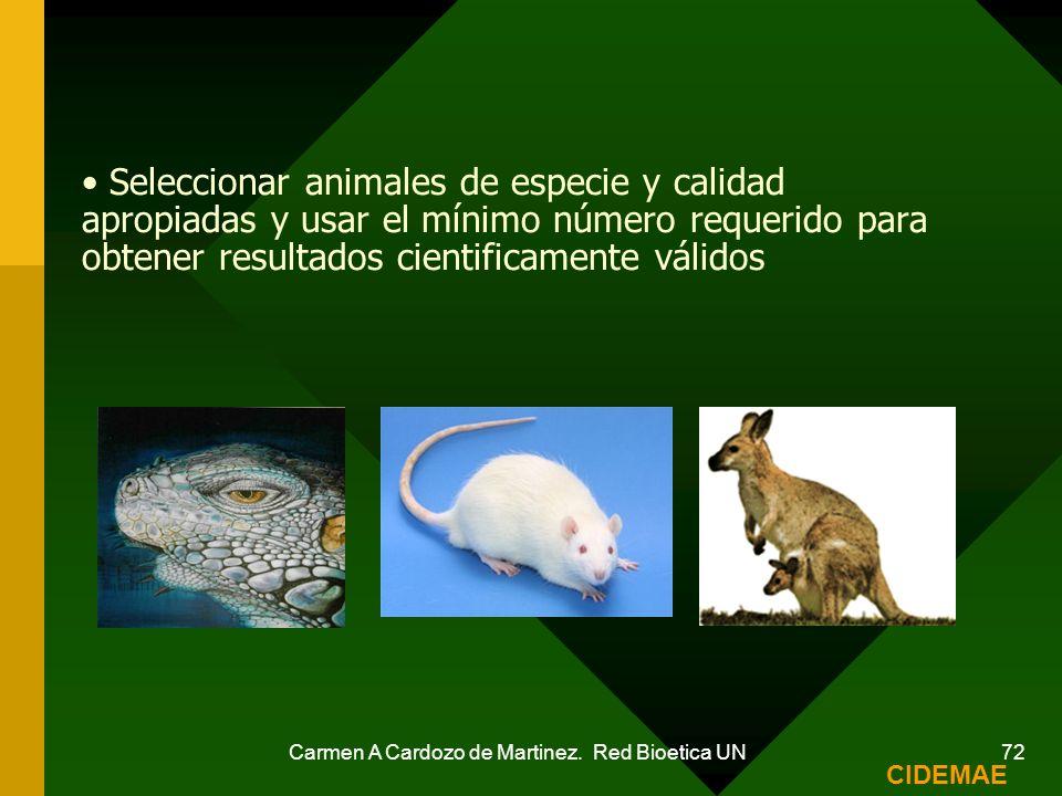 Carmen A Cardozo de Martinez. Red Bioetica UN 72 Seleccionar animales de especie y calidad apropiadas y usar el mínimo número requerido para obtener r