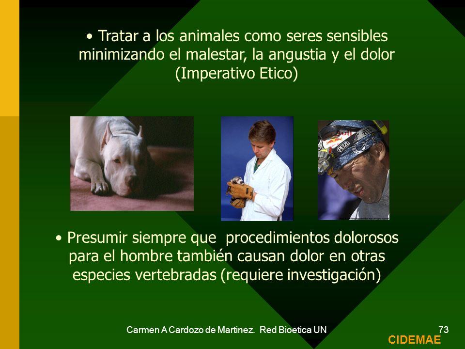 Carmen A Cardozo de Martinez. Red Bioetica UN 73 Tratar a los animales como seres sensibles minimizando el malestar, la angustia y el dolor (Imperativ