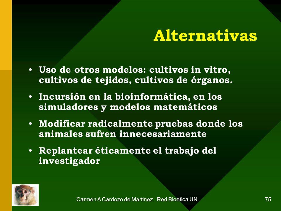 Carmen A Cardozo de Martinez. Red Bioetica UN 75 Alternativas Uso de otros modelos: cultivos in vitro, cultivos de tejidos, cultivos de órganos. Incur