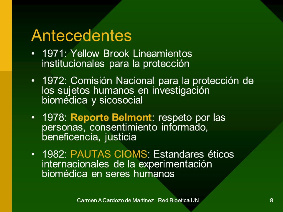 Carmen A Cardozo de Martinez. Red Bioetica UN 8 Antecedentes 1971: Yellow Brook Lineamientos institucionales para la protección 1972: Comisión Naciona