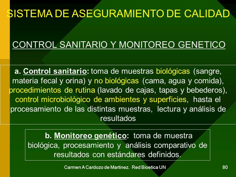 Carmen A Cardozo de Martinez. Red Bioetica UN 80 CONTROL SANITARIO Y MONITOREO GENETICO SISTEMA DE ASEGURAMIENTO DE CALIDAD a. Control sanitario: toma