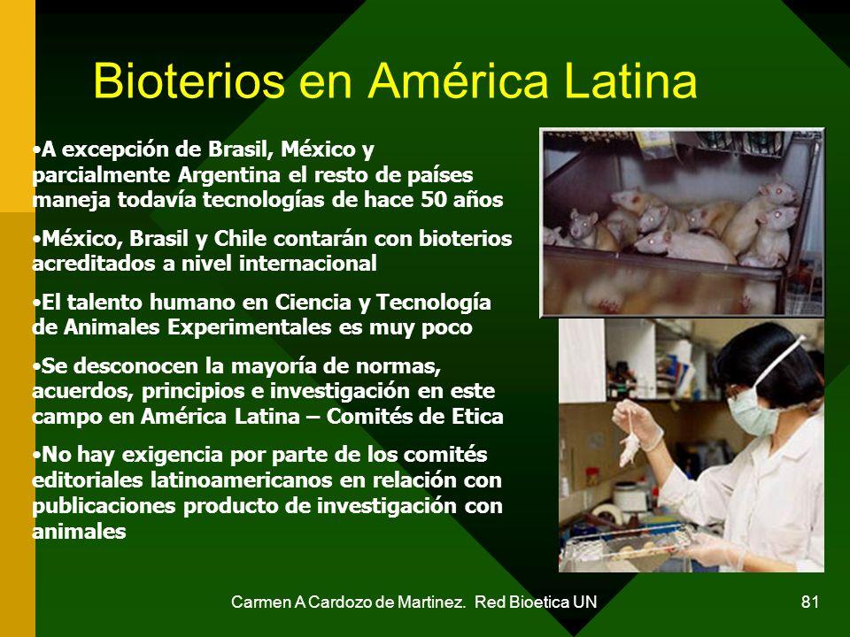 Carmen A Cardozo de Martinez. Red Bioetica UN 81 Bioterios en América Latina A excepción de Brasil, México y parcialmente Argentina el resto de países