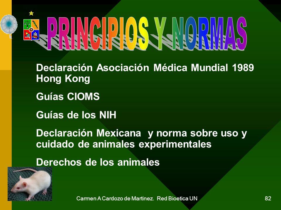 Carmen A Cardozo de Martinez. Red Bioetica UN 82 Declaración Asociación Médica Mundial 1989 Hong Kong Guías CIOMS Guías de los NIH Declaración Mexican