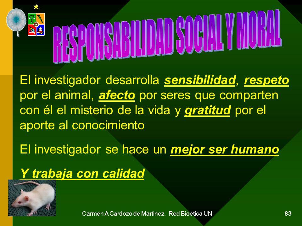 Carmen A Cardozo de Martinez. Red Bioetica UN 83 El investigador desarrolla sensibilidad, respeto por el animal, afecto por seres que comparten con él