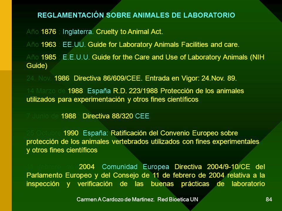 Carmen A Cardozo de Martinez. Red Bioetica UN 84 REGLAMENTACIÓN SOBRE ANIMALES DE LABORATORIO Año 1876 : Inglaterra. Cruelty to Animal Act. Año 1963 :