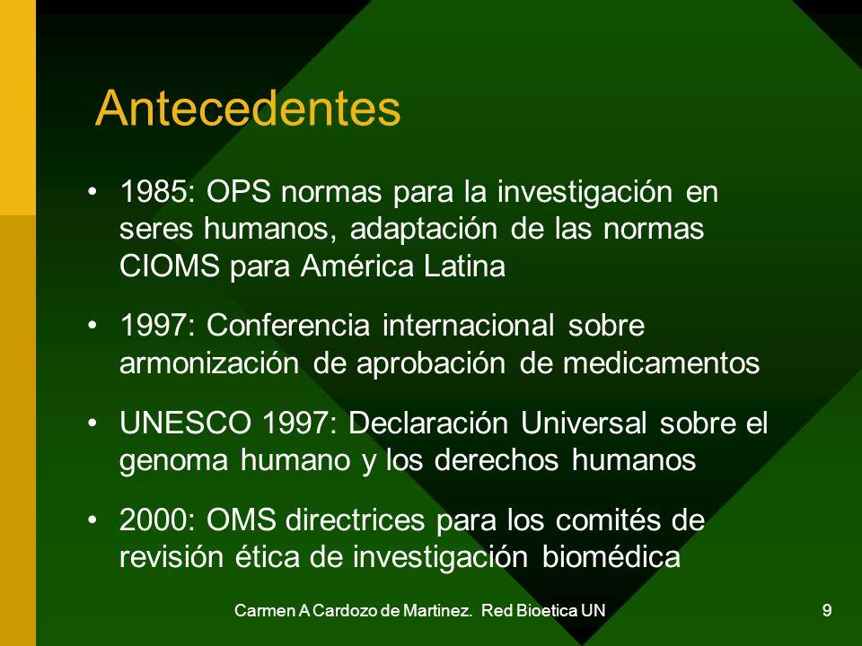 Carmen A Cardozo de Martinez. Red Bioetica UN 9 Antecedentes 1985: OPS normas para la investigación en seres humanos, adaptación de las normas CIOMS p