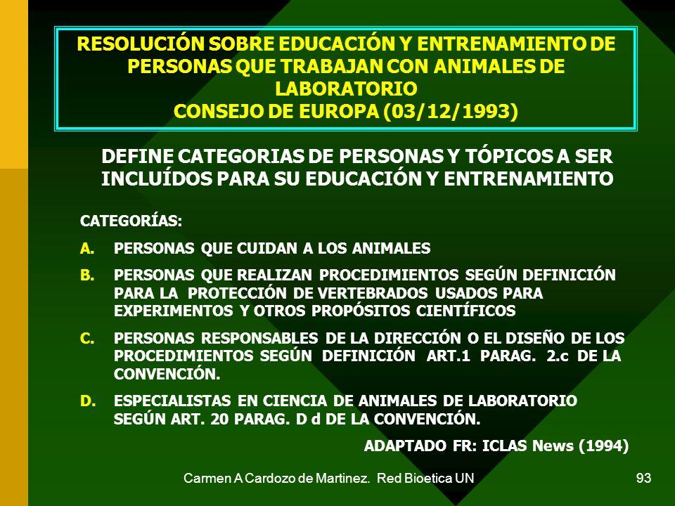 Carmen A Cardozo de Martinez. Red Bioetica UN 93 RESOLUCIÓN SOBRE EDUCACIÓN Y ENTRENAMIENTO DE PERSONAS QUE TRABAJAN CON ANIMALES DE LABORATORIO CONSE