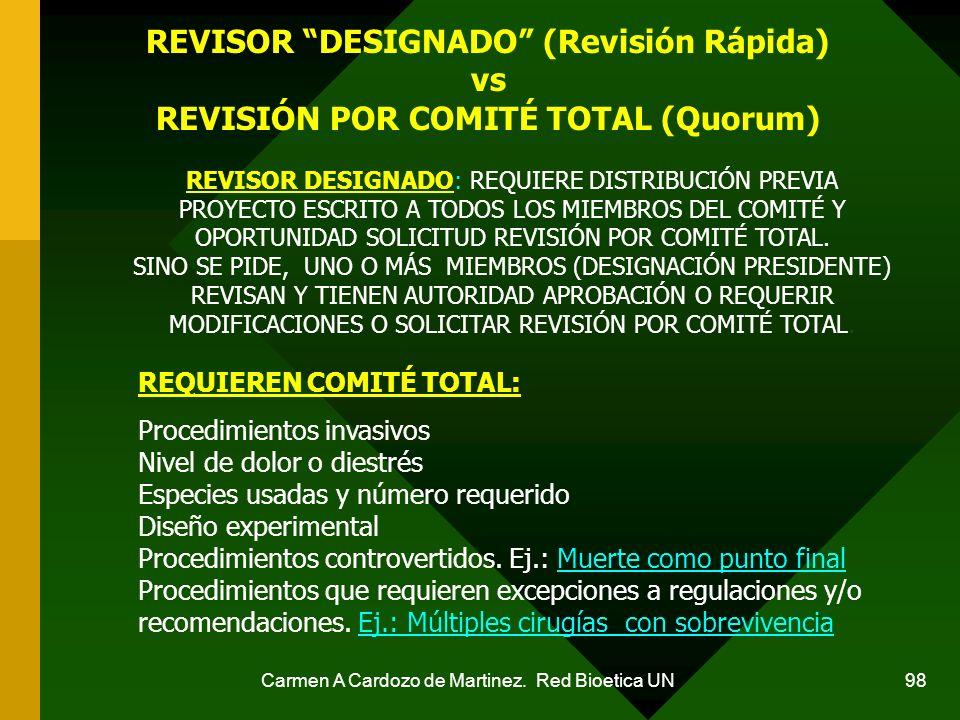 Carmen A Cardozo de Martinez. Red Bioetica UN 98 REVISOR DESIGNADO (Revisión Rápida) vs REVISIÓN POR COMITÉ TOTAL (Quorum) REVISOR DESIGNADO: REQUIERE