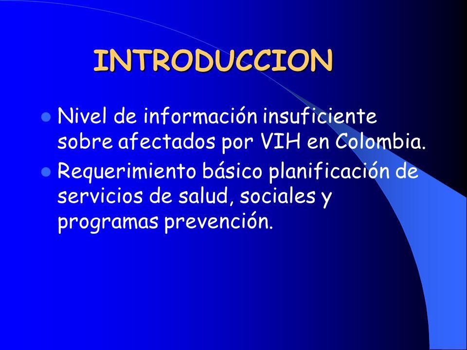 INTRODUCCION Nivel de información insuficiente sobre afectados por VIH en Colombia. Requerimiento básico planificación de servicios de salud, sociales