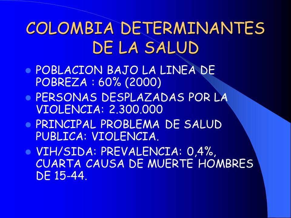COLOMBIA DETERMINANTES DE LA SALUD POBLACION BAJO LA LINEA DE POBREZA : 60% (2000) PERSONAS DESPLAZADAS POR LA VIOLENCIA: 2.300.000 PRINCIPAL PROBLEMA