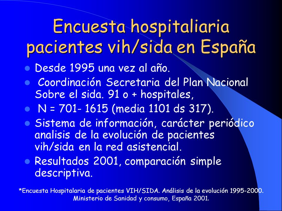 Encuesta hospitaliaria pacientes vih/sida en España Desde 1995 una vez al año. Coordinación Secretaria del Plan Nacional Sobre el sida. 91 o + hospita