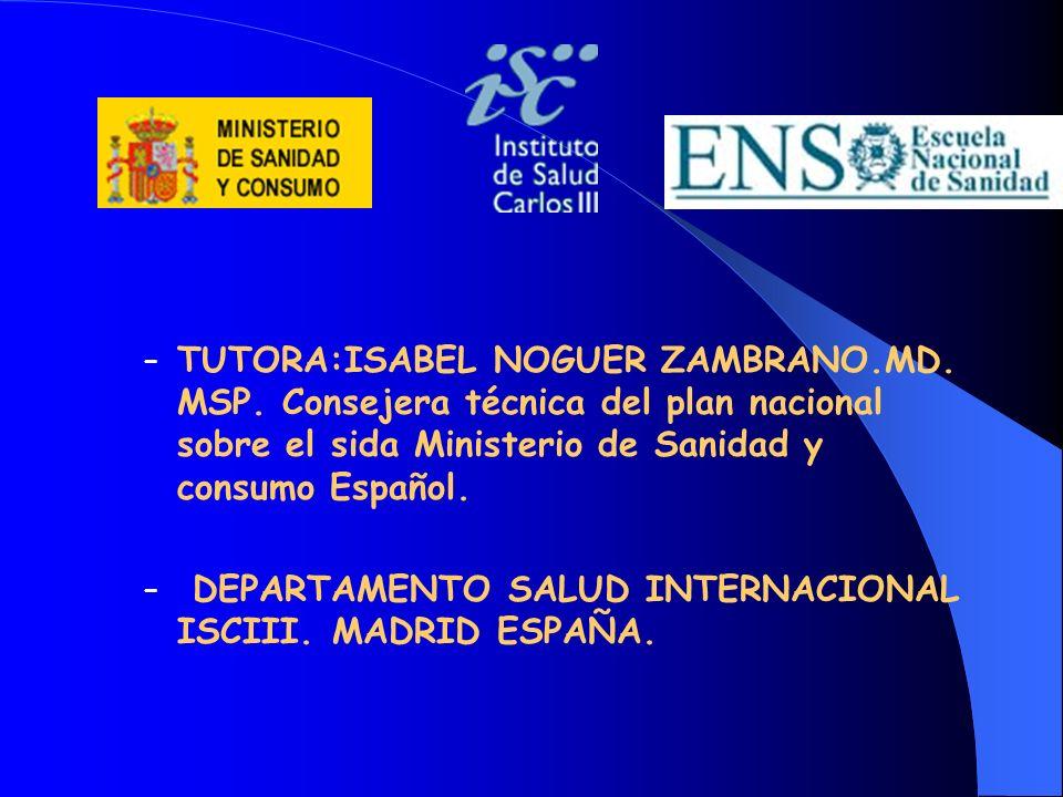 – TUTORA:ISABEL NOGUER ZAMBRANO.MD. MSP. Consejera técnica del plan nacional sobre el sida Ministerio de Sanidad y consumo Español. – DEPARTAMENTO SAL