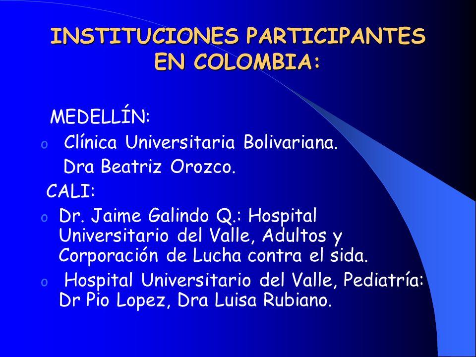 INSTITUCIONES PARTICIPANTES EN COLOMBIA: MEDELLÍN: o Clínica Universitaria Bolivariana. Dra Beatriz Orozco. CALI: o Dr. Jaime Galindo Q.: Hospital Uni