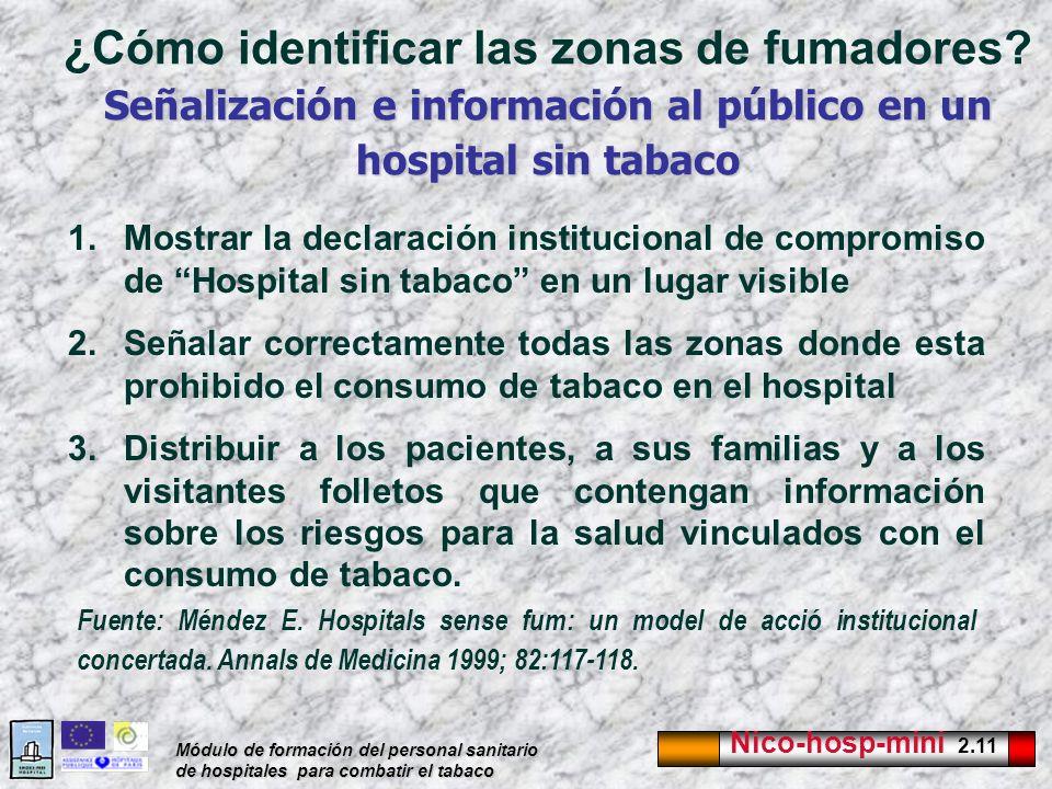 Nico-hosp-mini 2.11 Módulo de formación del personal sanitario de hospitales para combatir el tabaco Señalización e información al público en un hospi