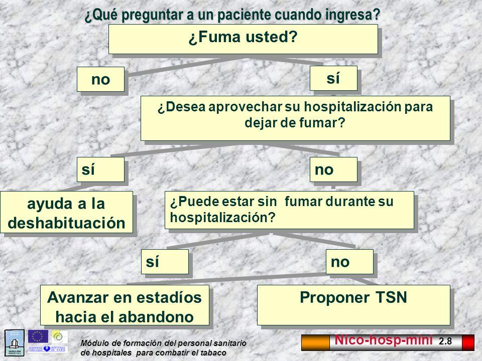 Nico-hosp-mini 2.8 Módulo de formación del personal sanitario de hospitales para combatir el tabaco ¿Qué preguntar a un paciente cuando ingresa? no ¿F