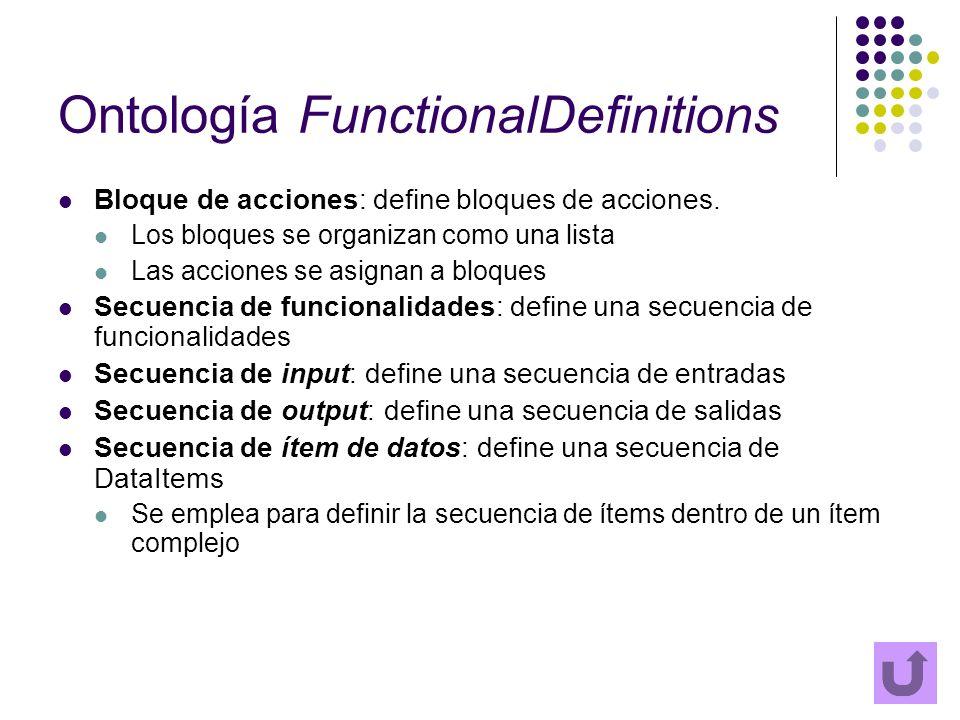 Ontología FunctionalDefinitions Bloque de acciones: define bloques de acciones. Los bloques se organizan como una lista Las acciones se asignan a bloq