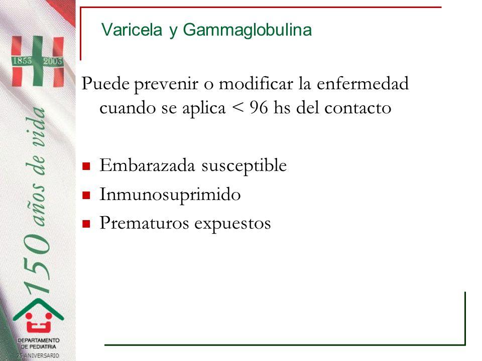Varicela y Gammaglobulina Puede prevenir o modificar la enfermedad cuando se aplica < 96 hs del contacto Embarazada susceptible Inmunosuprimido Prematuros expuestos