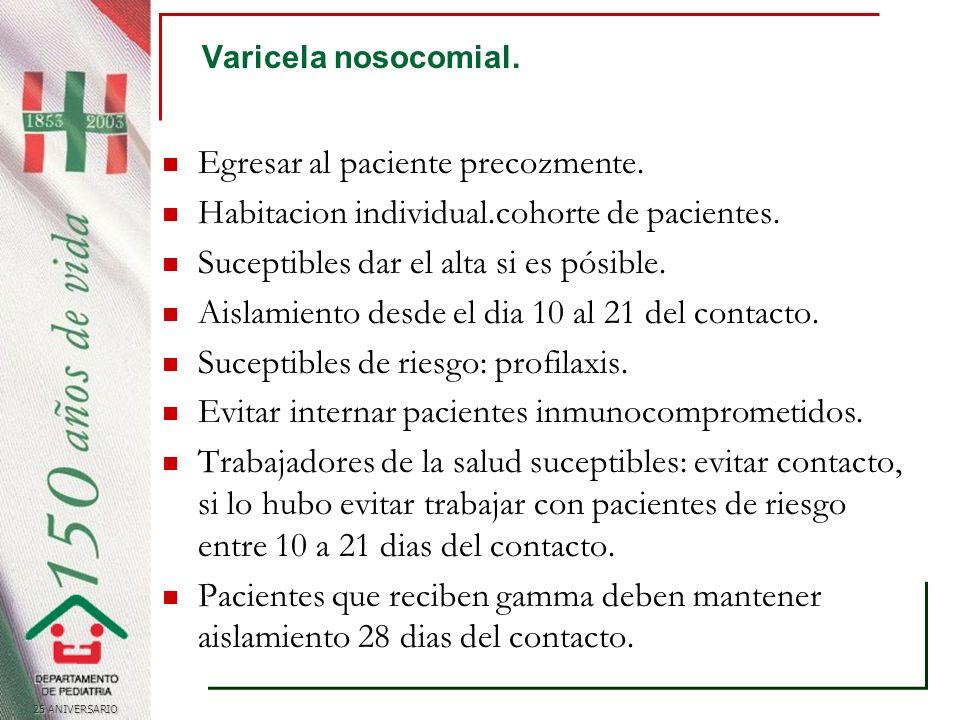 25 ANIVERSARIO Varicela nosocomial.Egresar al paciente precozmente.