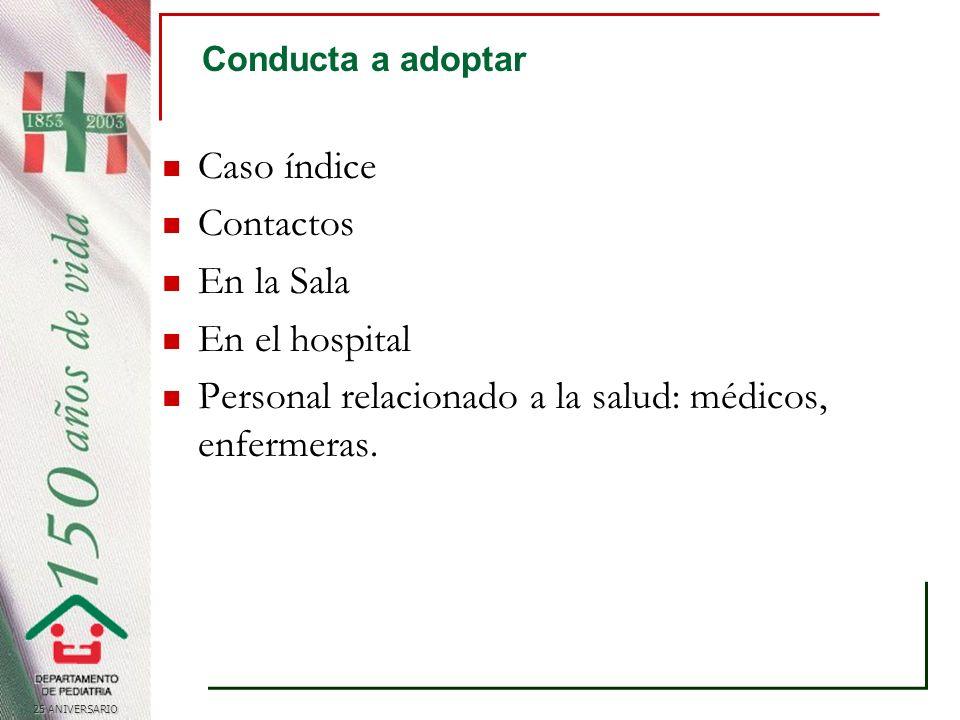 25 ANIVERSARIO Conducta a adoptar Caso índice Contactos En la Sala En el hospital Personal relacionado a la salud: médicos, enfermeras.
